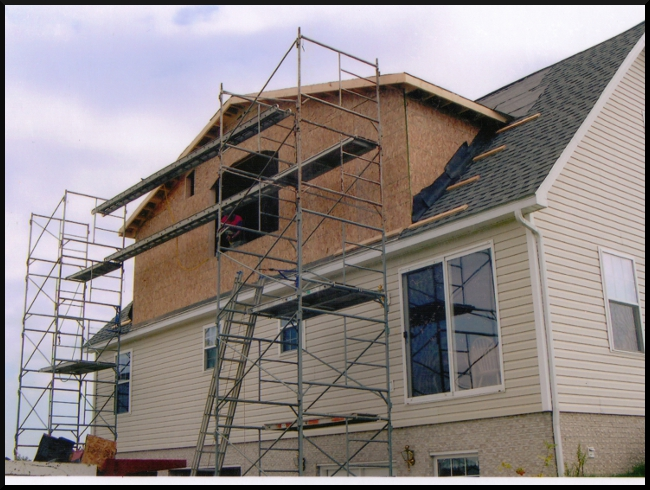Dormer with sheathing on